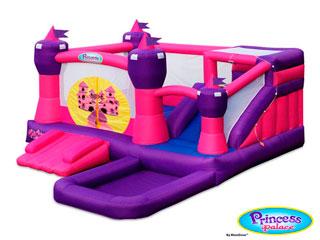 Castillo hinchable Princesas Combo con tobogán x2 acuatico y piscina de bolas