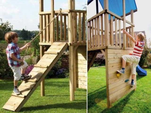 Parque Infantil De Exterior En Madera Tratada Castillos Hinchables Salto Feliz